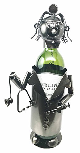 Lady Family Doctor On Duty Hospital Clinic Hand Made Metal Wine Bottle Holder Caddy Female Medical (Female Wine Bottle Holder)
