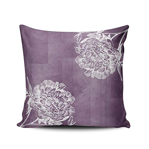 WULIHUA Decorative Throw Pillow Covers Purple and White Plum Watercolor Peonies Outdoor Square Outdoor Cushion Cover Pillowcase Size 18x18 Inch Simple and Elegant Design Double Sided Printed