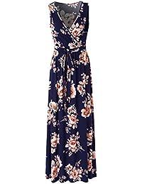 Womens V Neck Sleeveless Empire Waist Floral Maxi Dress …