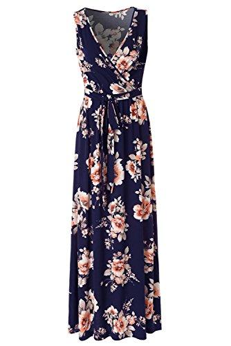- Zattcas Womens V Neck Sleeveless Empire Waist Floral Maxi Dress,Navy Orange Printed,Medium