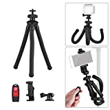 Flexible Tripod, Andoer Universal Octopus Handy Tripod Stand Set 360 Degree Rotation Holder with Camera Connector Phone Remote Control for DSLR ILDC Phone Action Camera