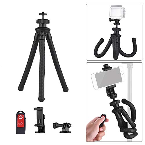 Flexible Tripod, Andoer Universal Octopus Handy Tripod Stand Set 360 Degree Rotation Holder with Camera Connector Phone Remote Control for DSLR ILDC Phone Action Camera by Andoer-1