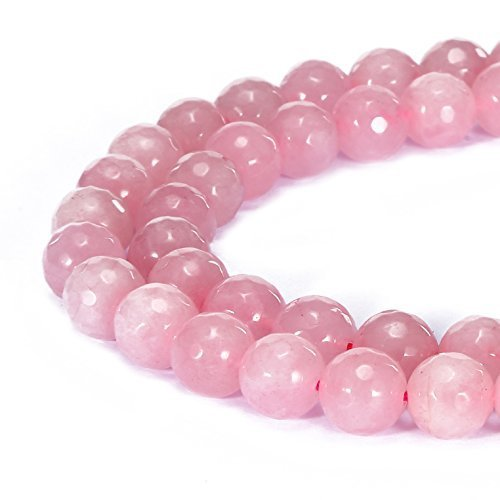 jennysun2010 Natural Rose Quartz Gemstone 4mm Faceted Round Loose 90pcs Beads 1 Strand for Bracelet Necklace Earrings Jewelry Making Crafts Design Healing
