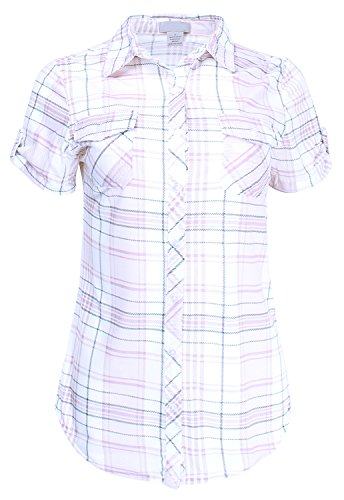 Ladies' Code Short Sleeve Plaid Button Down Shirt Knit Top, Lcts050 Ivory Blush, -