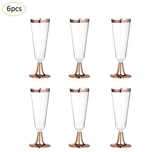Linker Wish Plastic Champagne Flutes 6pcs Disposable Plastic Red Wine Glass Champagne Flute Cocktail Glass Party Drink Cup Western Cuisine Cup