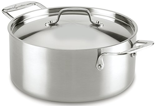 Lagostina Q55546 Axia Tri-Ply Stainless Steel Dishwasher Safe Covered Stewpot Cookware, 5-Quart, Silver