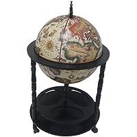 Merske Firenze Italian Style 4 Leg Floor Globe Bar, 20 Diameter, White