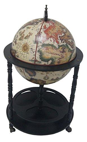 Merske Firenze Italian Style 4 Leg Floor Globe Bar, 20'' Diameter, White by Merske