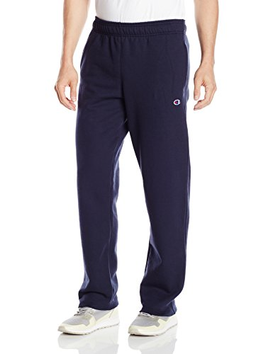 (Champion Men's Powerblend Open Bottom Fleece Pant, Navy, L)