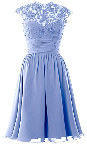 Sky Sleeve Cap Dress Gown Blue Lace Wedding Neck Ball Women Bridesmaid High Short Party t6E7Fwxq