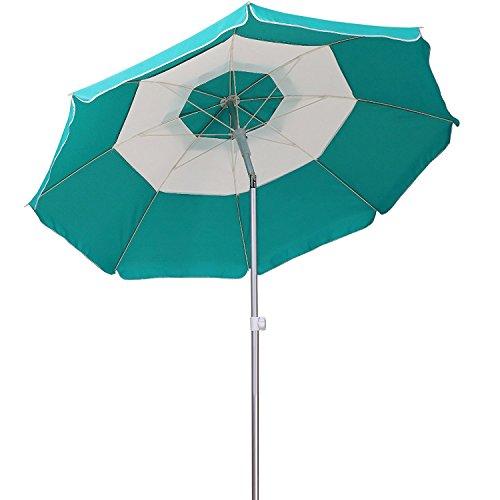 AMMSUN 2018 7ft Beach Patio Umbrella 8 panels Adjustable Height, Fantastic design with Tilt Air Vent UPF 50+ Teal/white