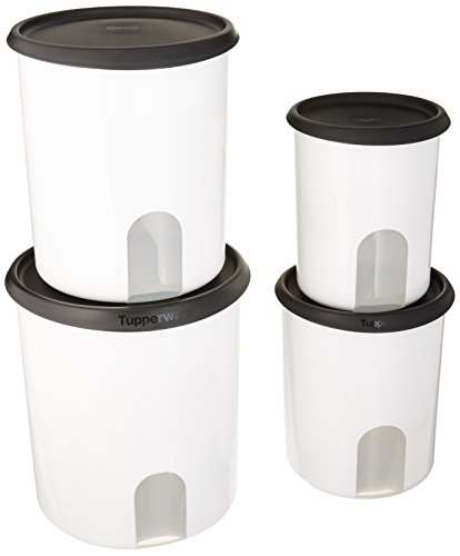 Tupperware Canister Set - TUPPERWARE ONE TOUCH REMINDER 4-PC. CANISTER SET/BLACK WITH NEW DESIGNED SEALS