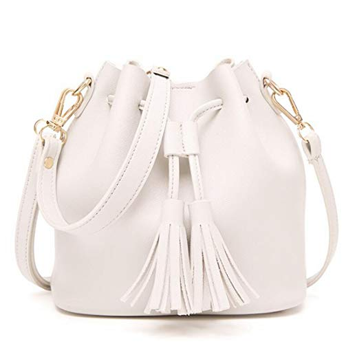Women colore Bianco con Borsa a nappa Subbodypper Borsa marrone coulisse con piccola Bags for Crossbody secchi qZwnxTtOz