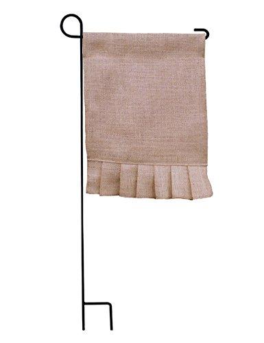 Garden Flag Kit (Limtery 3-Pack DIY Blank Burlap Jute Garden Flag for Yard Home Supplies Wedding Party Decoration Kit (Ruffle))