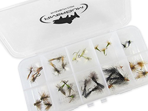 - RiverBum Trout Dry Flies Assortment Kit with Fly Box, Caddis, PMD, Drakes, BWO for Trout Fly Fishing- 30 Piece
