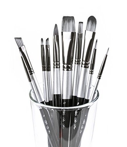 Art Paint Brushes Set for Acrylic Oil Watercolor, Artist Face and Body Professional Painting Kits with Synthetic Nylon Tips, 10 Pieces - Black