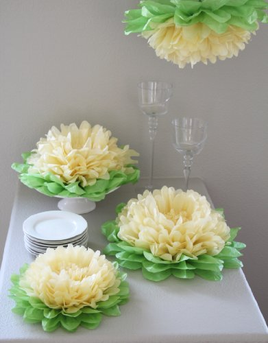 Girls Party Decorations - Set of 7 Yellow Tissue Paper Flowers (Paper Flower Pom)