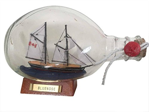 """Hand Craft Model Bluenose Sailboat in a Bottle 7"""" - Wood ..."""