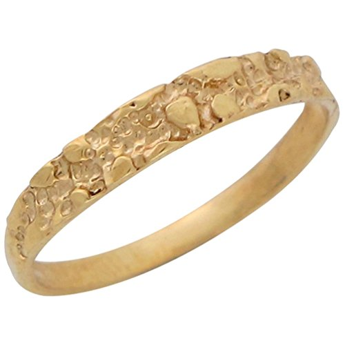 10k Yellow Gold Ladies Dainty Thin Band Gold Nugget Design Ring (Gold Nugget Yellow Ring)