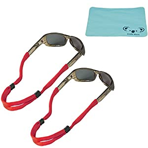 Chums No Tail Cotton Eyewear Retainer Sunglass Strap   Eyeglass, Sports, Safety Glasses Cord   2pk Bundle + Cloth, Red