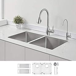 Kitchen ZUHNE 32-Inch Stainless Steel Undermount Kitchen Sink Double Bowl 16 Gauge (50/50 Equal) modern kitchen sinks