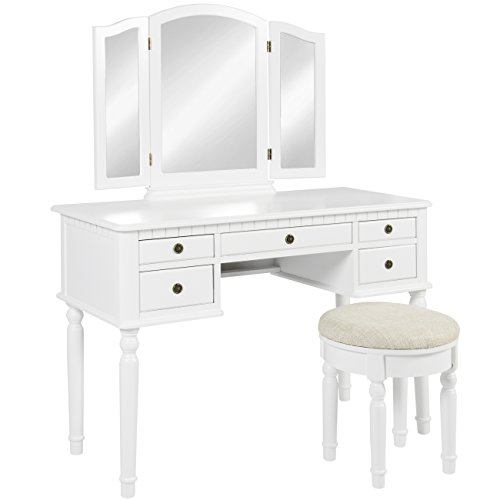 Best Choice Products Tri Mirror Vanity Set Makeup Table and Bench, White (Makeup Table Vanity White)