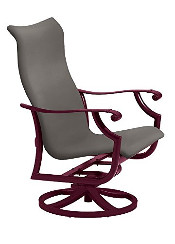 Tropitone by Casual Living Montreux Woven Swivel Action Lounger, Weathered Gray, Merlot - Montreux Swivel