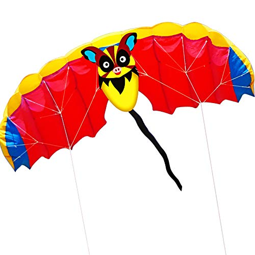 HENGDA KITE 1.4M Bat Design Kites Soft Dual Line Stunt Sport Parafoil Kite 55-inch with Flying Tool Set