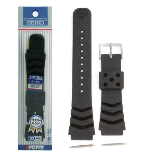 (Seiko Original Rubber Curved Line Watch Band 22mm Divers Model and Genuine Seiko Spring Bars)