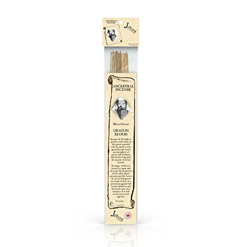Jabou Ancestral 100% Natural Hand Dipped Incense Sticks - Dragon Blood Aroma - for Meditation, Yoga, Relaxation, Magic, Healing, Prayer & Rituals - 11 inch - 60 Minutes - 20-Pack
