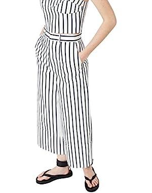 Mango Women's Striped Cotton Trousers