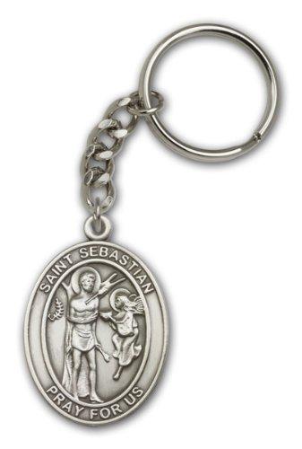 Amazon.com: Plata antigua St. Sebastian Llavero religiosa ...