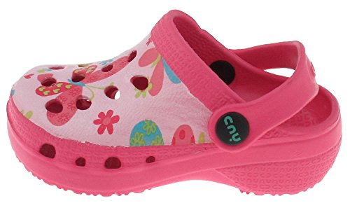 Capelli New York Toddler Girls Fluttering Butterflies Printed Injected Eva Clog With Backstrap Pink Combo 8/9