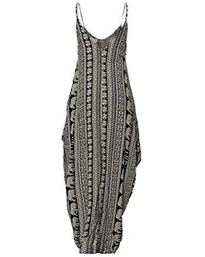 NiSeng Mujer V-Cuello Vestido Largo Sin Mangas Impresión De Playas Para Verano Maxi Vestido Negro
