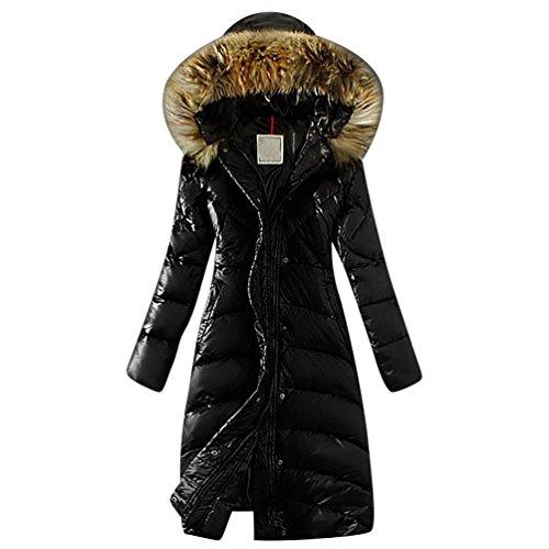 LvRao Damen Lang Daunenmantel Warme Winterjacke mit Fellkapuze Daunen Wintermantel Steppmantel Parka # Schwarz S