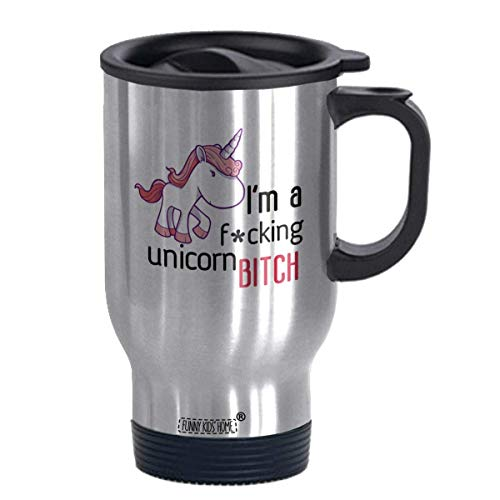 I'm a Fcking Unicorn- Funny Travel Mug 14oz Coffee Mugs or Tea Cup Cool Birthday for Men,Women,him,Boys and Girls