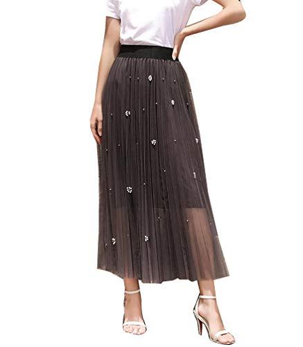 Femme Dentelle Double Couche Jupe Maxi Taille Haute lgante Classique Chic Casual A-Line Jupes Gris Fonc