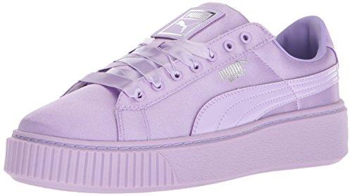 (PUMA Girls' Basket Platform Tween Kids Sneaker, Purple Rose, 11.5 M US Little )
