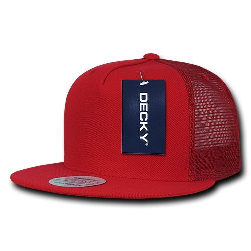 DECKY 5 Panel Flat Bill Trucker Cap Hats, Red Decky Brands Group 1063-RED