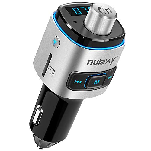 Bluetooth FM Transmitter for Car, Nulaxy V4.2 Bluetooth FM Radio Adapter Wireless Car Kit with QC3.0 Quick Charge, Support USB Drive, TF Card, Hands-Free, Activate Siri/Google Now - NX09