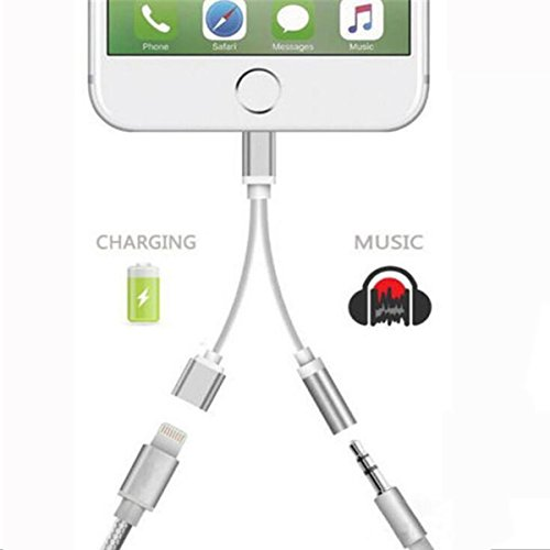 Apple iPhone Adapter Earphones & Splitter, Arhensive[Sliver]2 in1 Dual Lightning to 3.5mm Headphone Audio & Charge Adaptor for Apple i7 Plus / i7