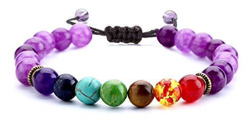 (Hamoery 8mm Lava Rock 7 Chakras Beads Bracelet Braided Rope Natural Stone Yoga Bracelet Bangle (Amethyst Bead) )