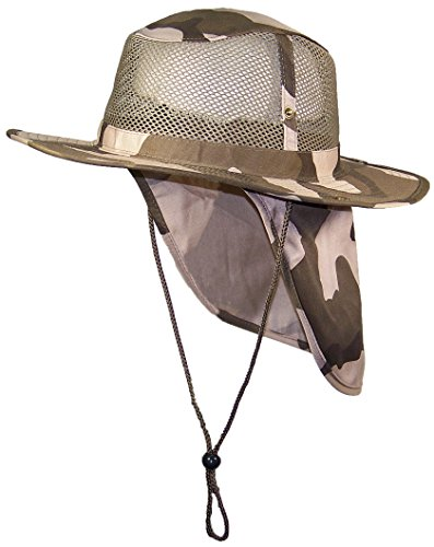 Tropic Hats Summer Wide Brim Mesh Safari/Outback W/Neck Flap & Snap Up Sides - Desert Camo S