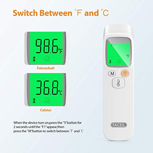 Thermometer for Fever, Non-Contact Infrared Forehead Thermometer with Object Mode Function,Fever Alert and 20 Set Memory Recall,Best Care Thermometer for Adults and Baby Kids