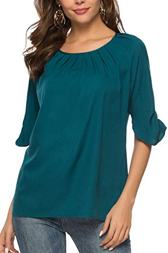Aceshion Business Casual Tops for Women, Ladies Lightweight Long Sleeve Chiffon Blouse Pleats Tunic Shirt Green, Medium