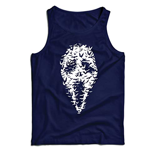 lepni.me Men's Tank Top Ghost Scary Face Bats, Halloween Party Costume (XX-Large Blue Multi Color) ()
