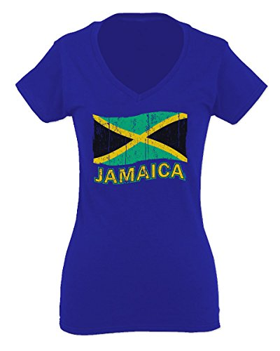 Jamaica Tee Jamaican National Country Flag Tee Carribean for Women V Neck Fitted T Shirt (Royal Medium)