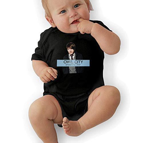 sretinez Owl City Shooting Star Unisex Vintage Newborn Baby Romper Baby BoyBodysuit Black -