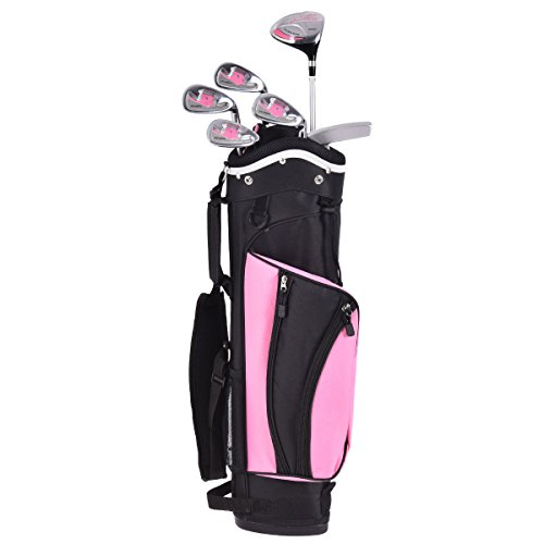 costzonジュニア子供用ゴルフクラブセット6PieceウッドアイアンパターW /スタンドバッグAges 8–10 ブラック