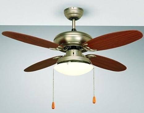 Plafoniere Con Pale : Ventilatore da soffitto con luce perenz Ø cm cromo spazzolato